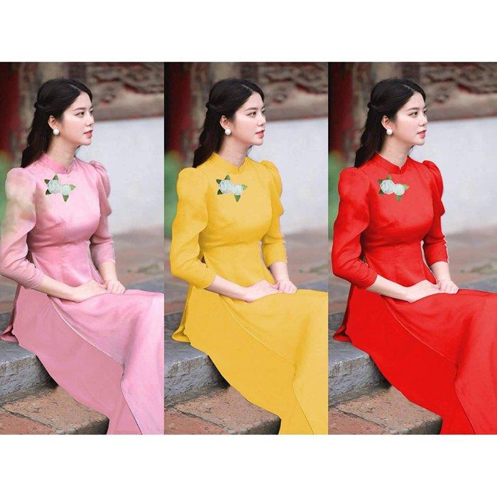 Áo dài đũi đính hoa, áo dài truyền thống