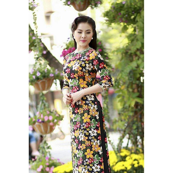 Áo dài hoa mai phối viền, áo dài truyền thống