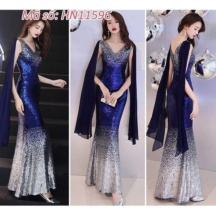 Đầm maxi kim sa loan xanh