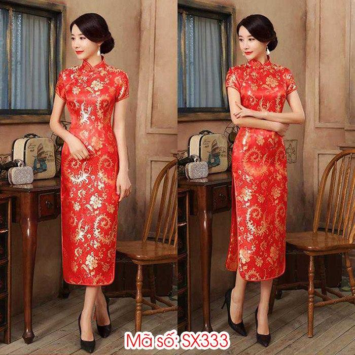 Đầm sườn xám gấm đỏ họa tiết